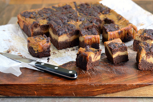 Pumpkin Spice Cheesecake Swirled Brownies (Vegan, Gluten-Free, Refined Sugar-Free)Yield: 36 Small Browniesingredients:  Brownies3oz Datesboiling Water6 Tablespoons (45gm) Sorghum Flour6...