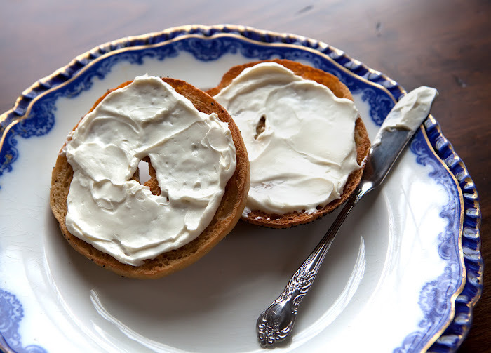 Wholewheat Bagels With Cream Cheese. Yum!