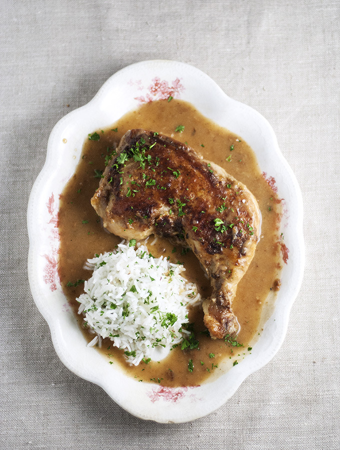 Pan-Seared Chicken Thighs with Gravy and Rice