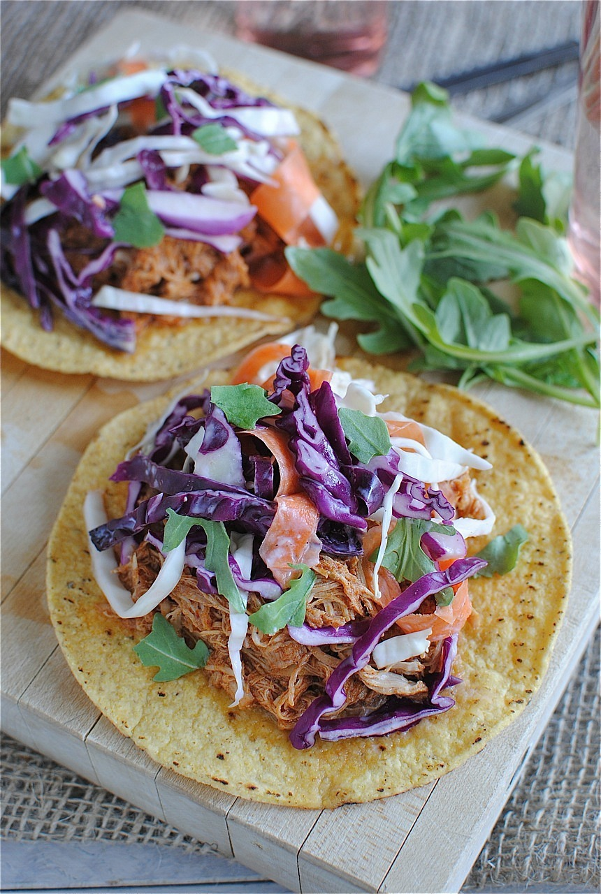 BBQ Pulled Chicken Tostadas with Cole Slaw
