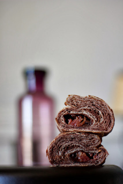 Chocolate and Cardamom Croissants with Chocolate Ganache and Poached Plums