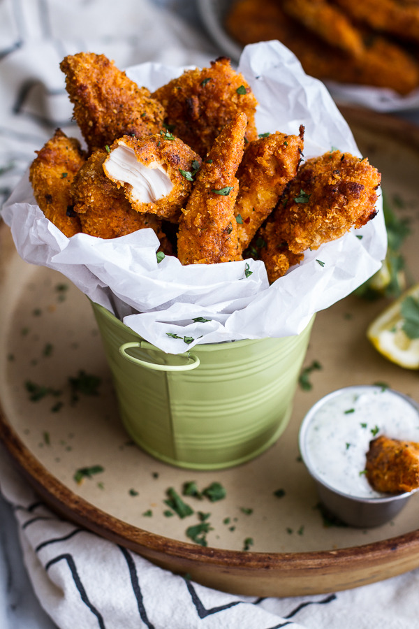 Black Pepper Chicken Fingers with Greek Yogurt Ranch