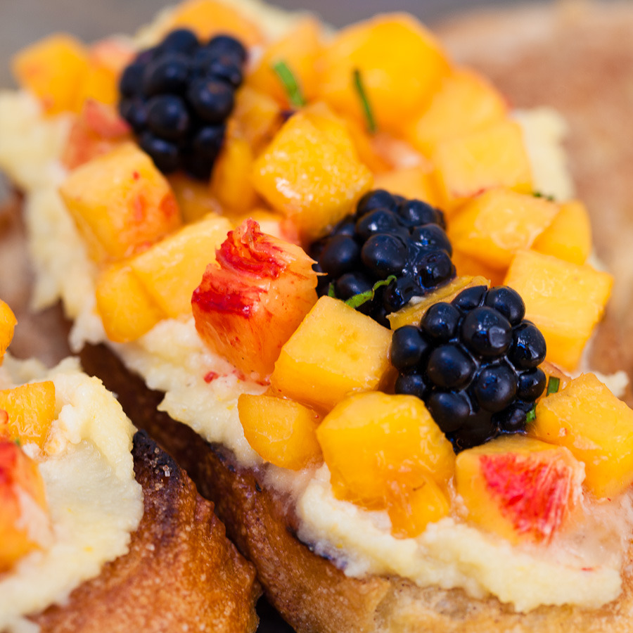 Peach and Blackberry Dessert Bruschetta