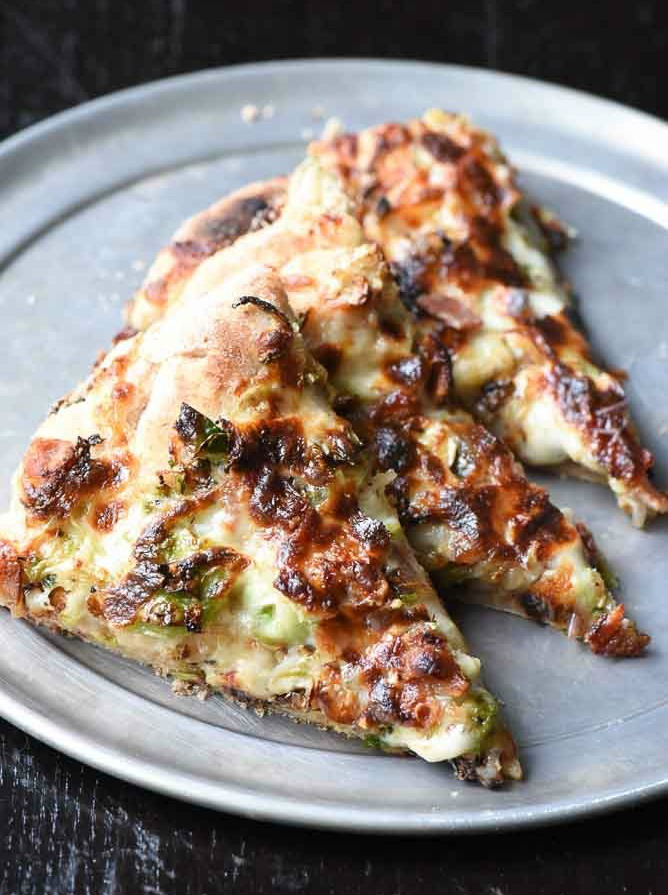 Garlic Brussels Sprouts Bacon Pizza