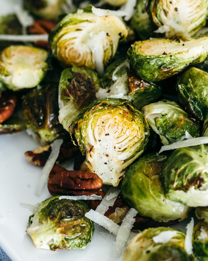 Roasted Brussels Sprouts with Pecorino and Pecans