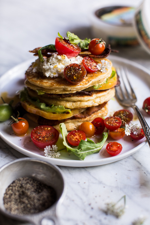BLT Quark Pancakes with Chipotle Bourbon Dressing