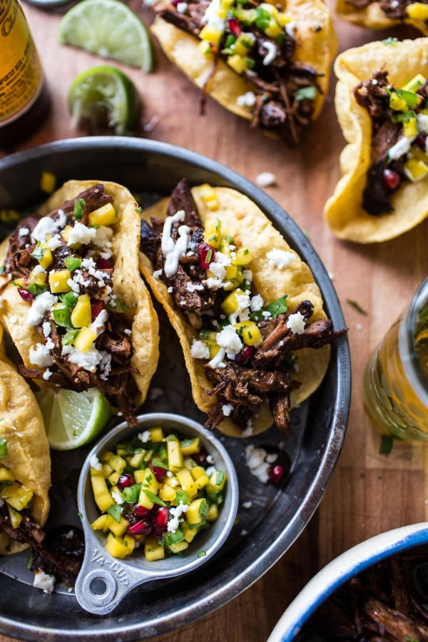 birria puffy tacos with cilantro lime yogurt